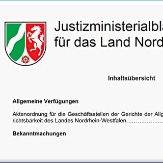 Justizministerialblatt Nordrhein-Westfalen